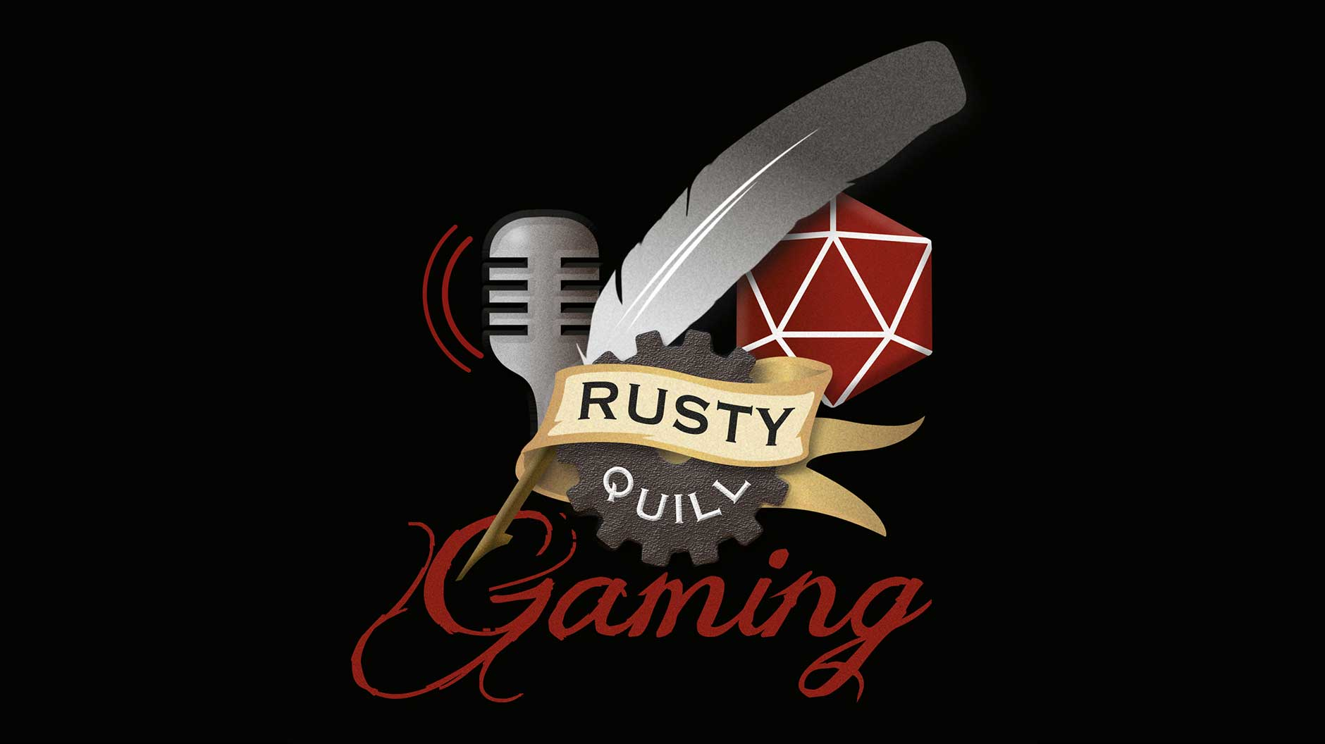 Rusty Quill logo design dark background